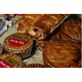 Pork pies and sausage rolls standing photo sculpture