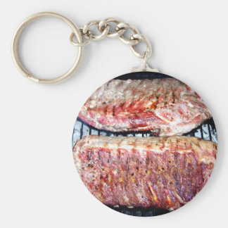 Pork Spare Ribs on the Grill Basic Round Button Keychain