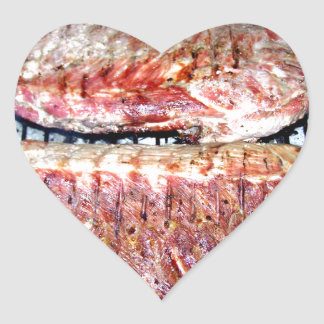 Pork Spare Ribs on the Grill Heart Sticker