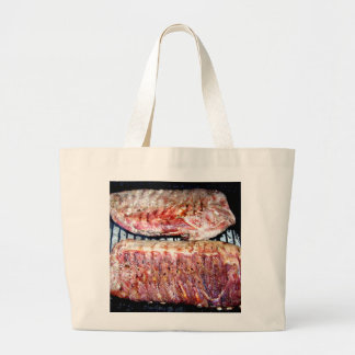 Pork Spare Ribs on the Grill Large Tote Bag