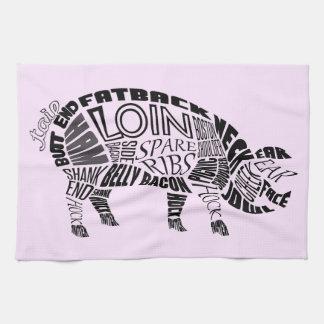 Pork Typogram Towels