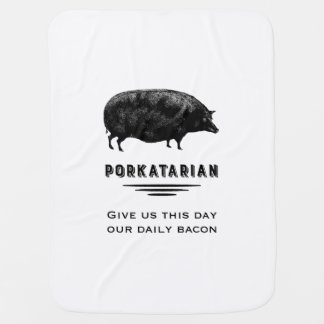 Porkatarian - Funny Bacon Lover Vintage Pig Receiving Blanket