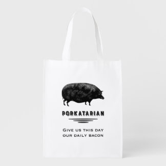 Porkatarian - Funny Bacon Lover Vintage Pig Reusable Grocery Bag