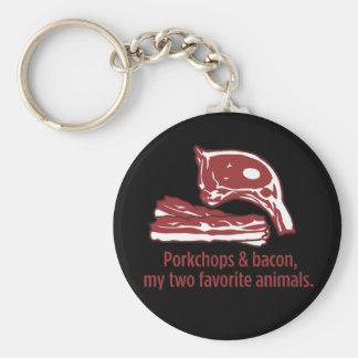 Porkchops & Bacon, my two favorite animals Basic Round Button Keychain