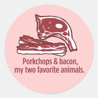 Porkchops & Bacon, my two favorite animals Classic Round Sticker