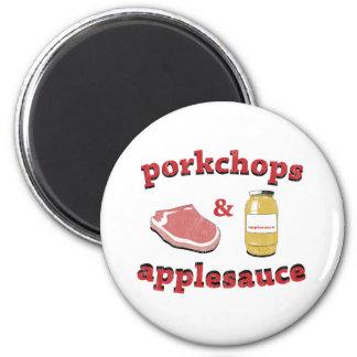 porkchops y compota de manzanas imán redondo 5 cm