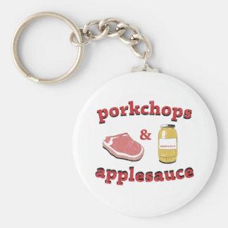 porkchops y compota de manzanas llavero redondo tipo pin