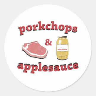 porkchops y compota de manzanas pegatina redonda