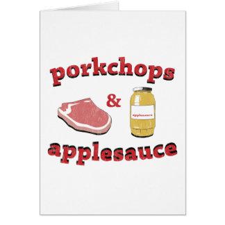 porkchops y compota de manzanas tarjeta de felicitación