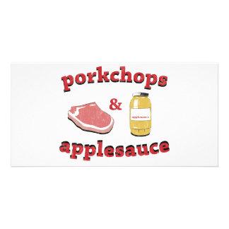 porkchops y compota de manzanas tarjetas fotograficas personalizadas