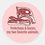 Porkchops y tocino, mis dos animales preferidos pegatina redonda