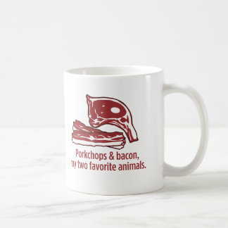 Porkchops y tocino, mis dos animales preferidos taza básica blanca