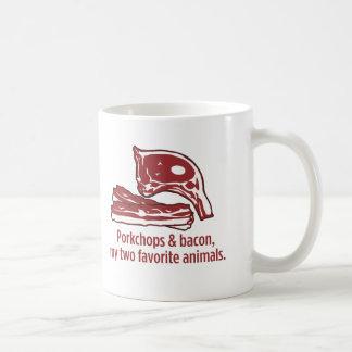 Porkchops y tocino, mis dos animales preferidos taza clásica