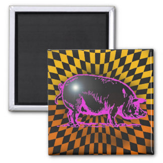 porker by gregory gallo 2 inch square magnet