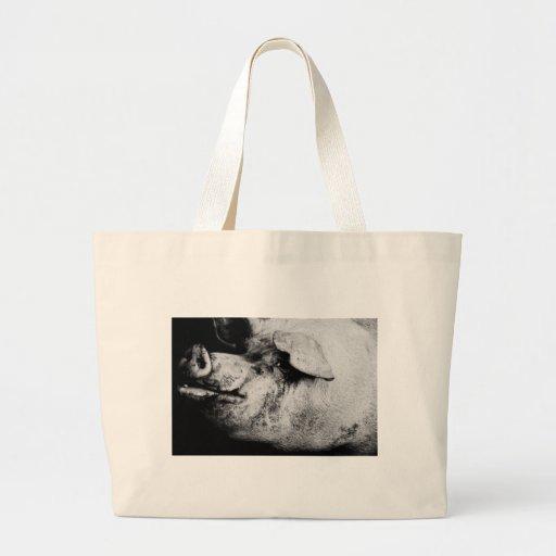 porker portrait tote bags