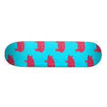 Porky Pig Silhouette Pink Glitter Girly Farm Skateboard