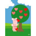 Porky Valentine and Love Tree greeting card card