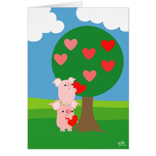Porky Valentine and Love Tree greeting card
