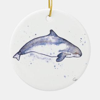 Porpoise Illustration Ceramic Ornament