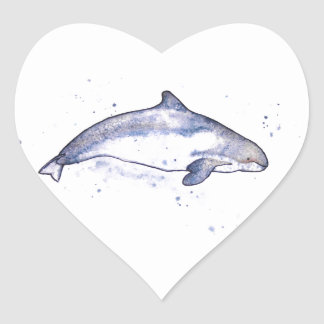 Porpoise Illustration Heart Sticker