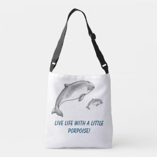 Porpoise swimming with their baby porpoise crossbody bag
