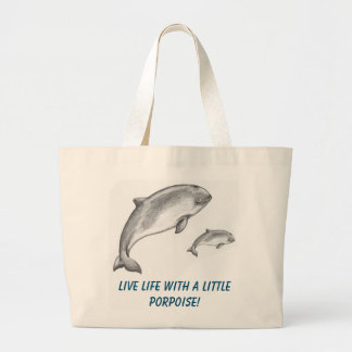 Porpoise swimming with their baby porpoise large tote bag