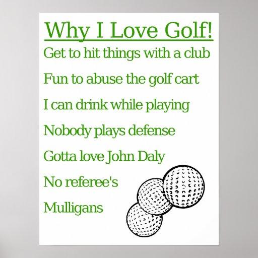 Porqué amo golf póster