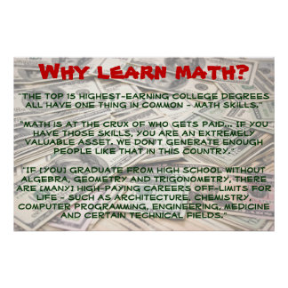 """Porqué aprenda la matemáticas?"" Poster"