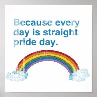 Porque cada día es día recto del orgullo apenado póster
