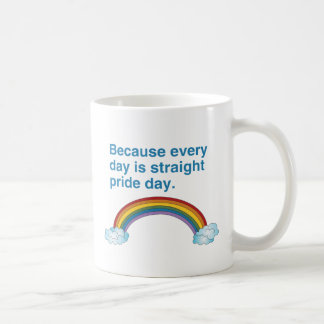 Porque cada día es recto enorgullézcase el día taza básica blanca