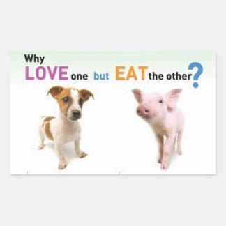 Porqué el amor uno pero come el otro - perro y rectangular pegatinas
