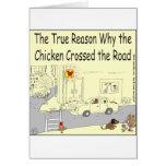 Porqué el pollo cruzó el dibujo animado del camino felicitación