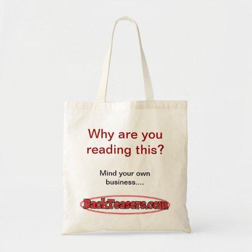 Porqué es usted que lee esto bolsa tela barata