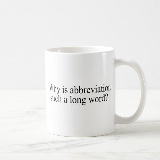 Porqué está la abreviatura tal largo redacte taza básica blanca