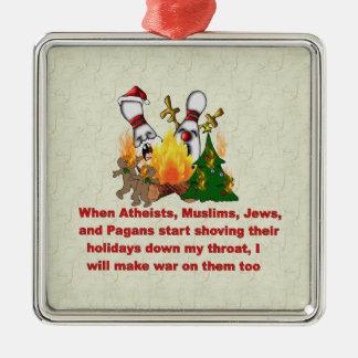 Porqué hay guerra en navidad adorno cuadrado plateado