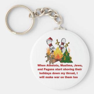 Porqué hay guerra en navidad llavero redondo tipo pin