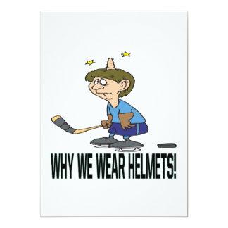 """Porqué llevamos cascos invitación 5"""" x 7"""""""