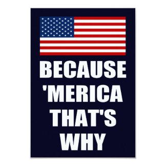 """Porque 'MERICA que es porqué es patriótico vaya de Invitación 3.5"""" X 5"""""""