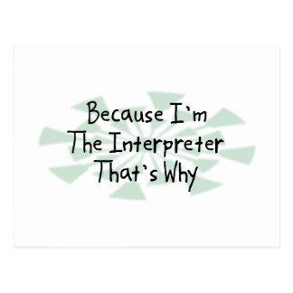 Porque soy el intérprete postal