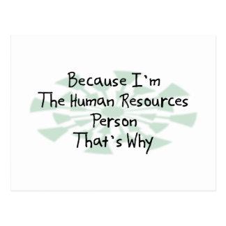 Porque soy la persona con muchos recursos humana postal