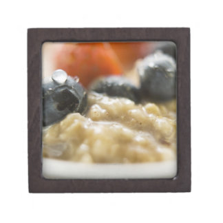 Porridge with berries, close-up jewelry box