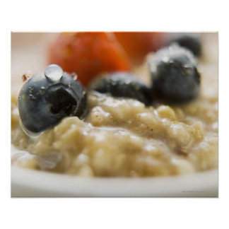 Porridge with berries, close-up poster