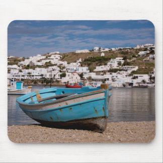 Port and harbor area with Greek fishing boats Mouse Pad
