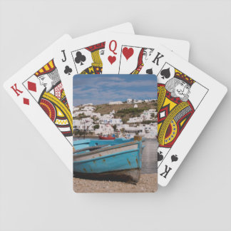 Port and harbor area with Greek fishing boats Playing Cards