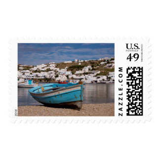 Port and harbor area with Greek fishing boats Postage