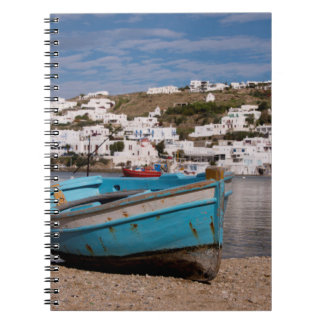 Port and harbor area with Greek fishing boats Spiral Notebook