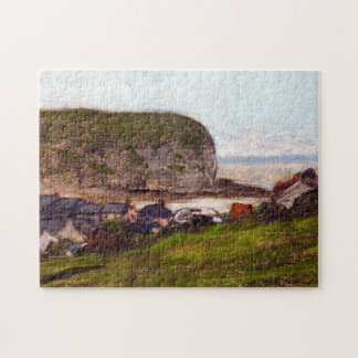 Port and the Falaise d'Aval Monet Fine Art Jigsaw Puzzle