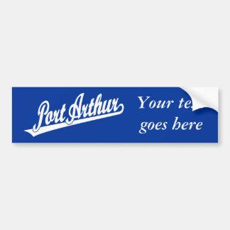 Port Arthur script logo in white Car Bumper Sticker