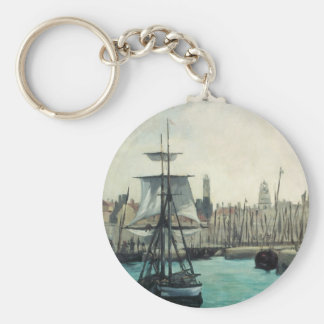 Port at Calais by Manet, Vintage Impressionism Art Basic Round Button Keychain
