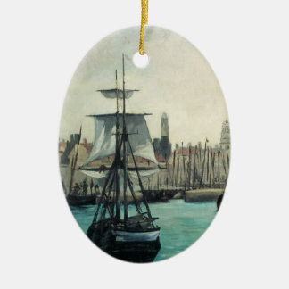Port at Calais by Manet, Vintage Impressionism Art Ceramic Ornament